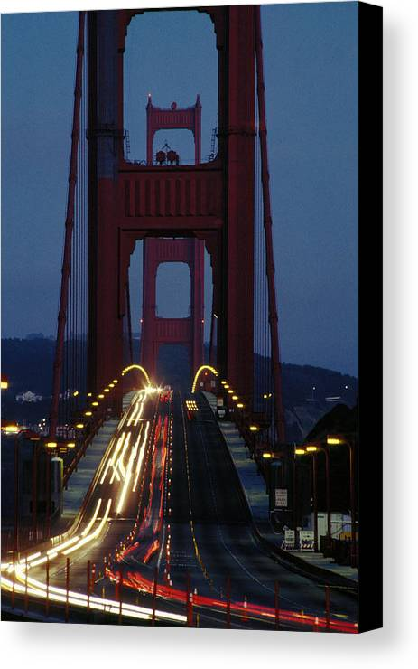 Evening Canvas Print featuring the photograph Golden Gate Bridge by Carl Purcell