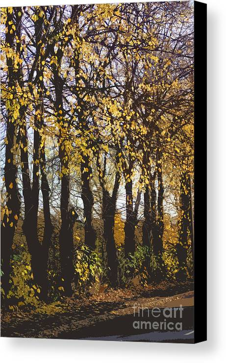 Abstract Canvas Print featuring the digital art Golden Trees 1 by Carol Lynch