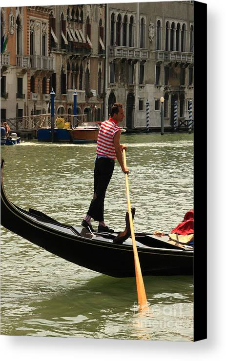 Venice Canvas Print featuring the photograph Gondolier With Matching Socks by Michael Henderson