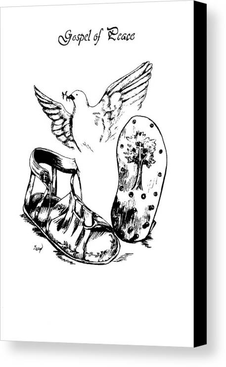 Armor Canvas Print featuring the drawing Gospel Of Peace by Maryn Crawford