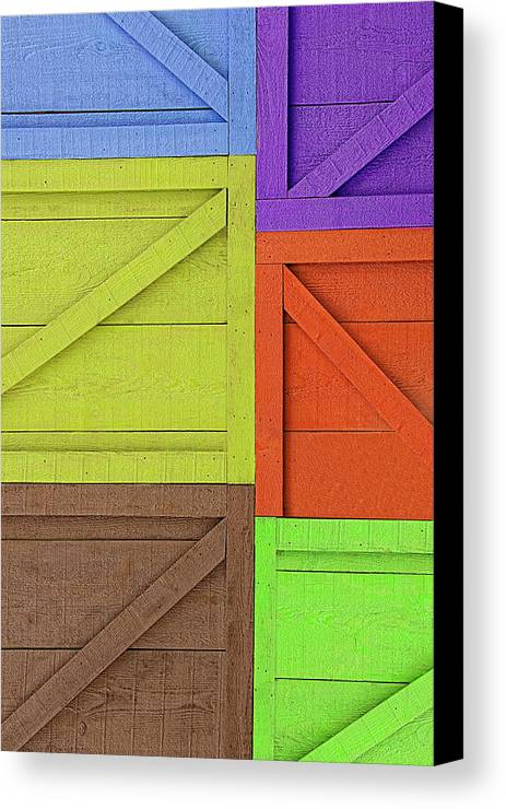 Crate Canvas Print featuring the photograph Great Crates - Multicolored Packing Boxes Stacked by Mitch Spence