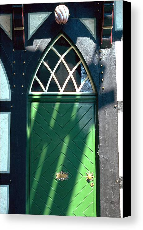 Green Canvas Print featuring the photograph Green Door by Flavia Westerwelle