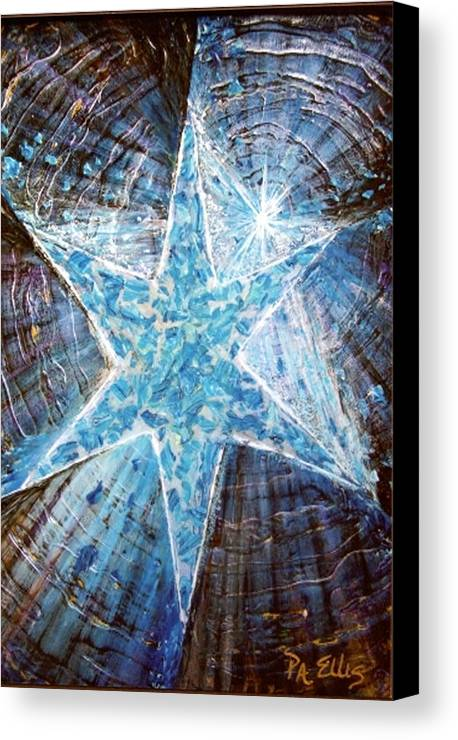 Heavy Texture Mosaic Six Point Star Multi Level Blue Canvas Print featuring the painting Guiding Light by Pam Ellis