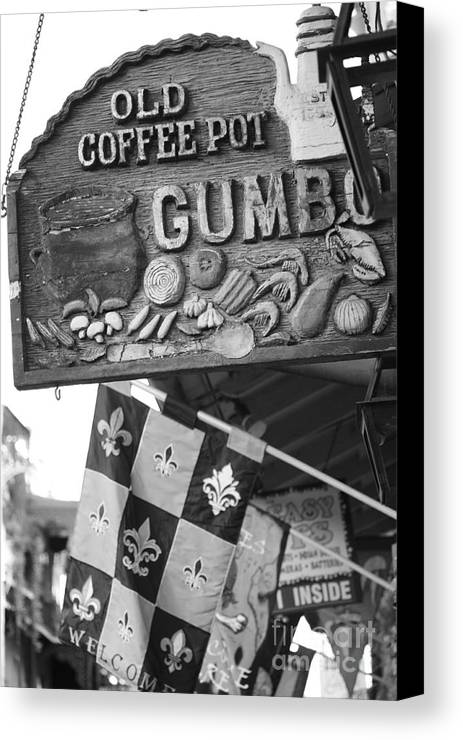 New Orleans Canvas Print featuring the photograph Gumbo Sign - Black And White by Carol Groenen