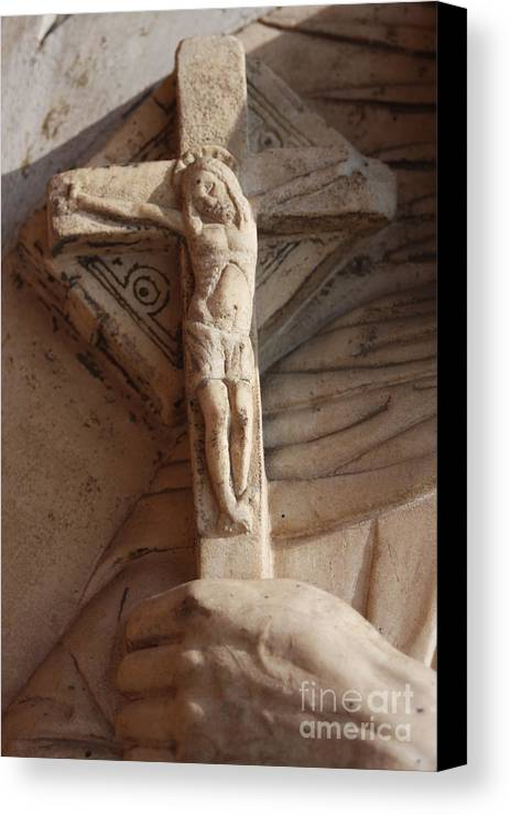 Sculpture Canvas Print featuring the photograph Hand Holding Crucifix In Venice by Michael Henderson