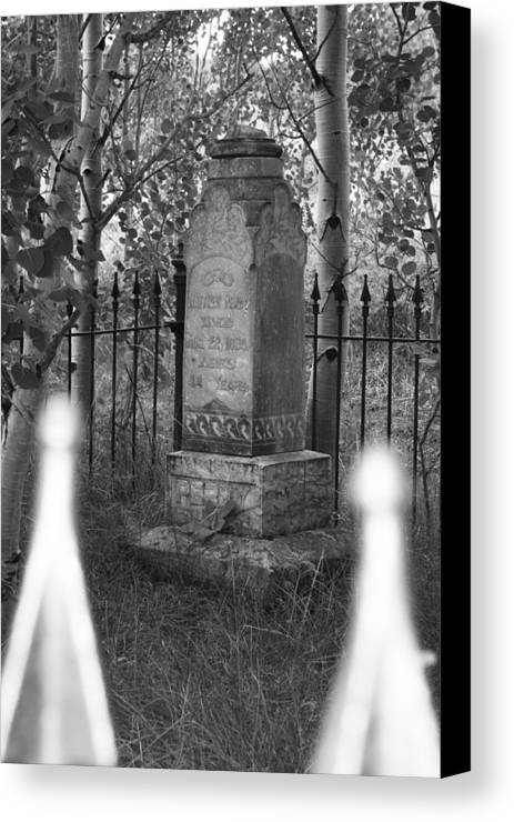 Black And White Canvas Print featuring the photograph Headstone Near Central City Colorado by Robert Gladwin