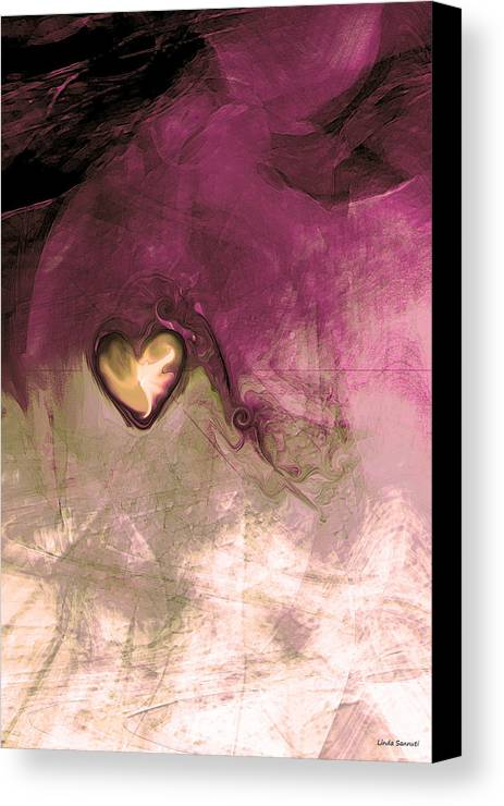 Heart Of Gold Canvas Print featuring the digital art Heart Of Gold by Linda Sannuti