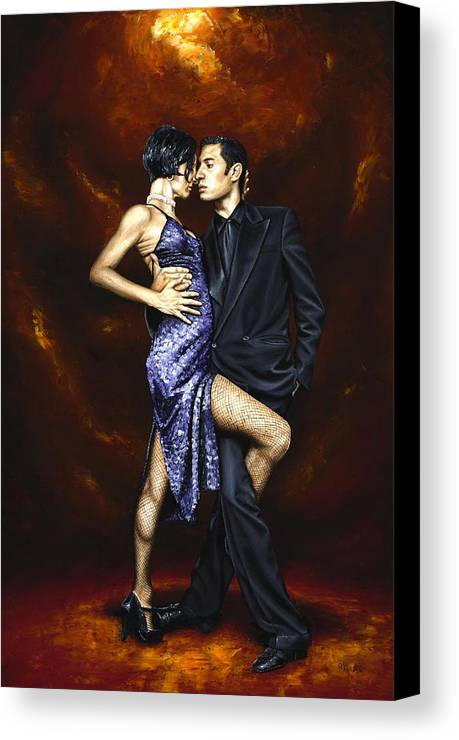 Tango Dancers Love Passion Female Male Woman Man Dance Canvas Print featuring the painting Held In Tango by Richard Young