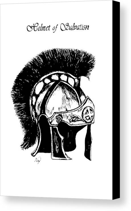 Helmet Canvas Print featuring the drawing Helmet Of Salvation by Maryn Crawford