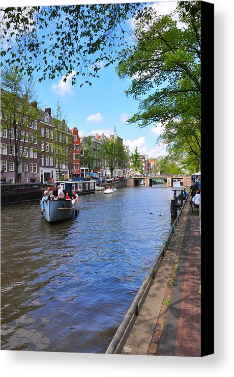 Architecture Canvas Print featuring the photograph Hollanders On Canal - Color by Noah Cole