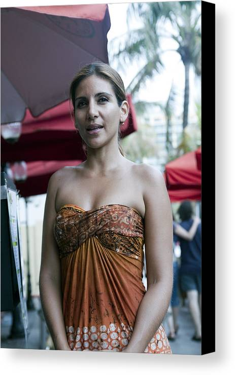 Vertical Canvas Print featuring the digital art Hostess At South Beach Restaurant by Christopher Purcell