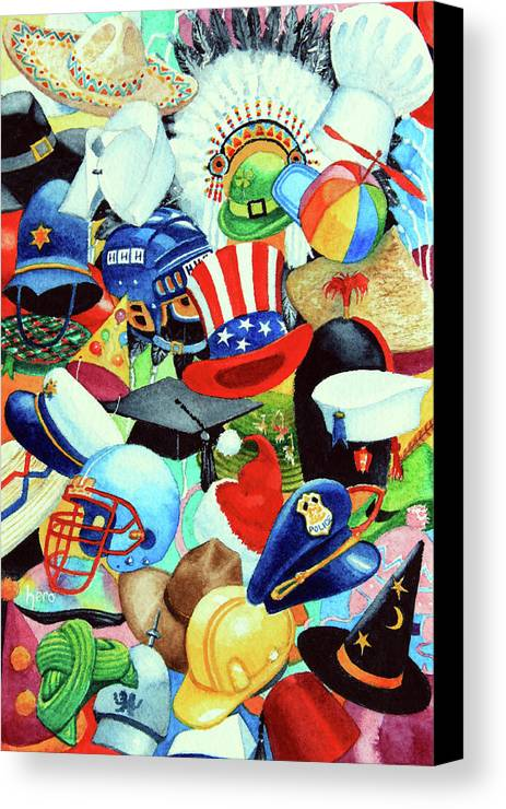 Hundreds Of Hats Art Print Canvas Print featuring the painting Hundreds Of Hats by Hanne Lore Koehler