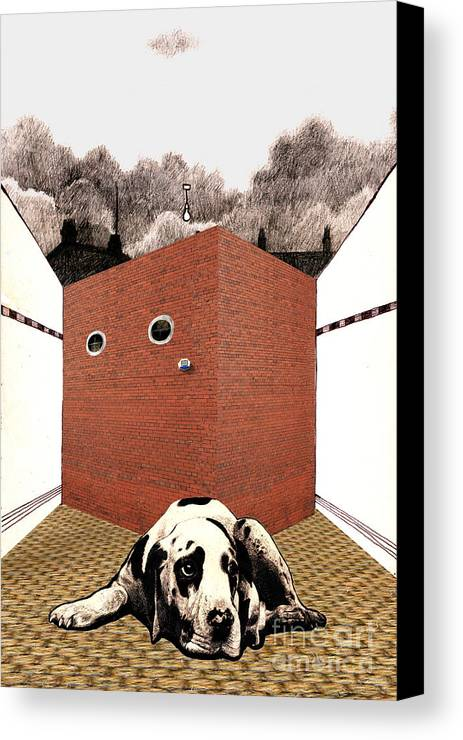 Brick Canvas Print featuring the digital art In The Dog House by Andy Mercer