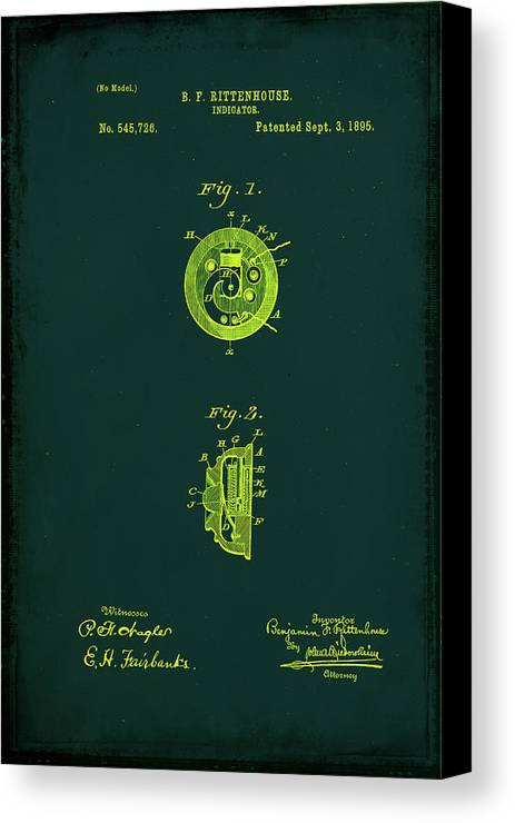 Patent Canvas Print featuring the mixed media Indicator Patent Drawing 1b by Brian Reaves