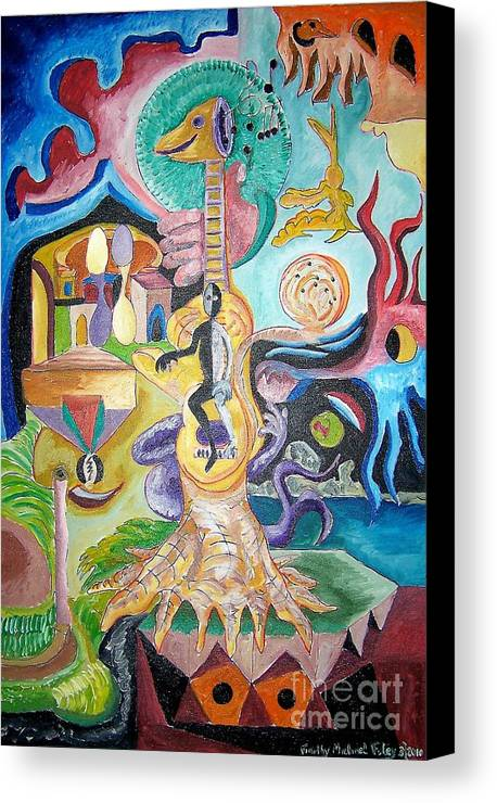 Surrealism Canvas Print featuring the painting Instrumental Duties by Timothy Michael Foley
