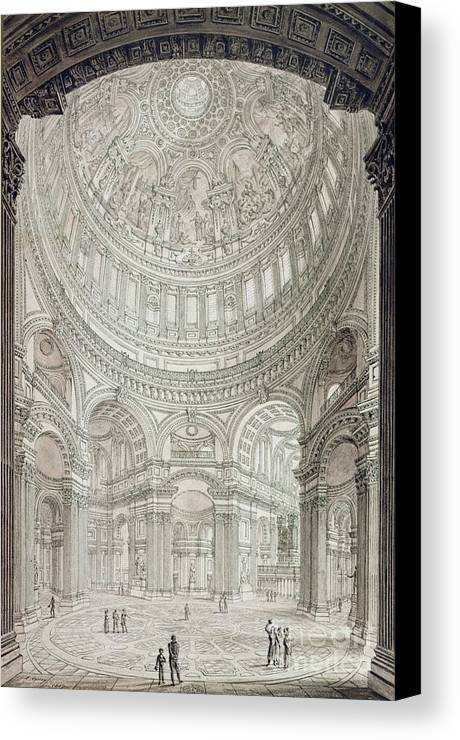 Church; Architecture; Dome; Baroque; Christopher Wren Canvas Print featuring the drawing Interior Of Saint Pauls Cathedral by John Coney