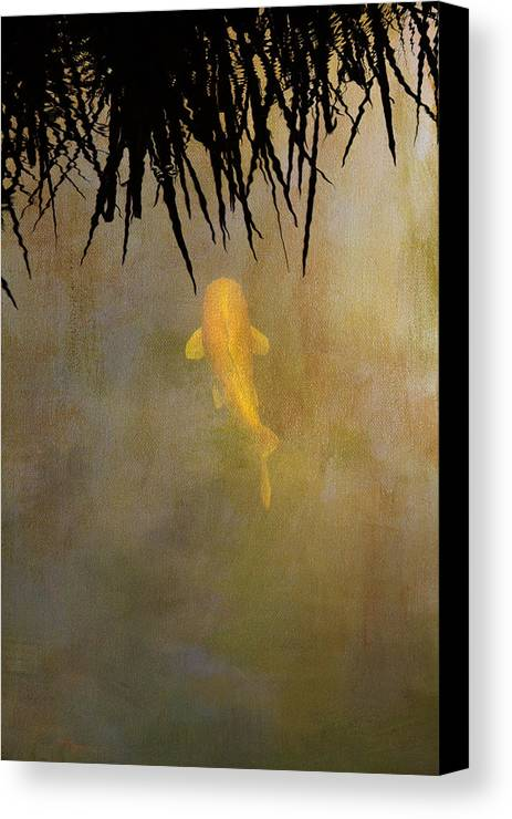 Koi Canvas Print featuring the photograph Into The Rushes by Rebecca Cozart