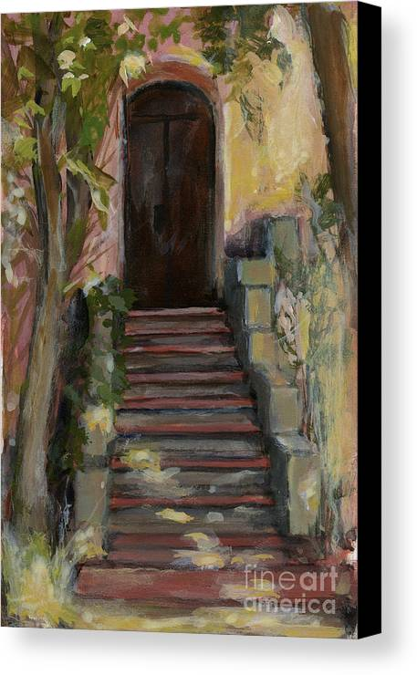 Landscape Canvas Print featuring the painting Italy 002 - Somewhere In Sicily by Silvana Siudut