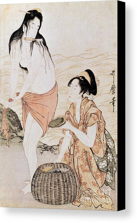 1797 Canvas Print featuring the photograph Japan: Abalone Divers by Granger