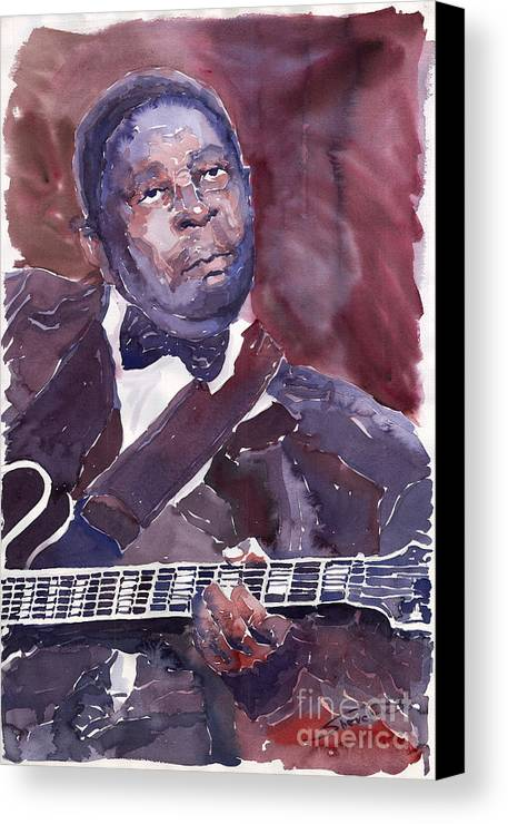 Jazz Bbking Guitarist Blues Portret Figurative Music Canvas Print featuring the painting Jazz B B King by Yuriy Shevchuk