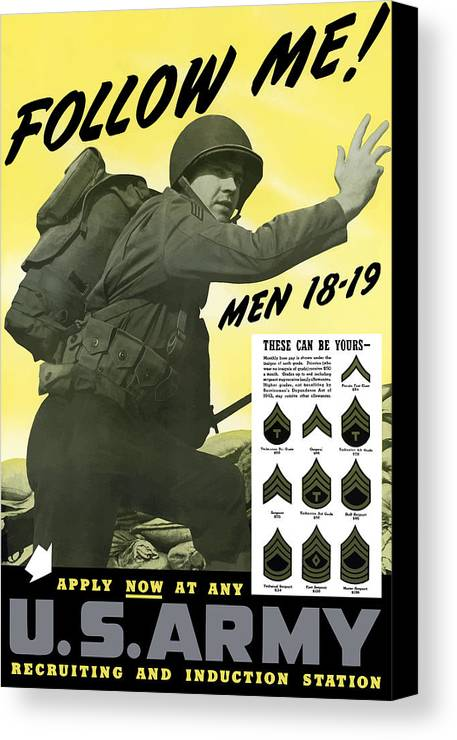 Army Canvas Print featuring the painting Join The Us Army by War Is Hell Store