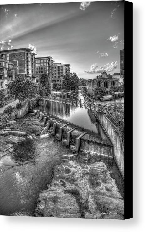 Reid Callaway The Main Attraction Canvas Print featuring the photograph Just Before Sunset B W Reedy River Falls Park Greenville South Carolina Art by Reid Callaway
