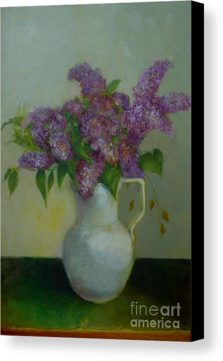 Greeting Card Canvas Print featuring the painting Just Lilacs         Copyrighted by Kathleen Hoekstra