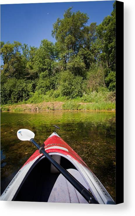 kayak on a forested lake canvas print canvas art by steve gadomski