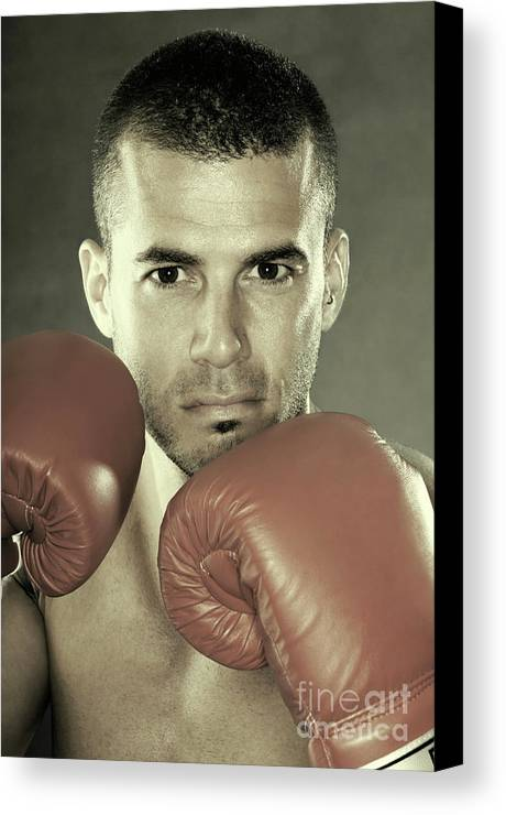 Kickboxer Canvas Print featuring the photograph Kickboxer by Oleksiy Maksymenko