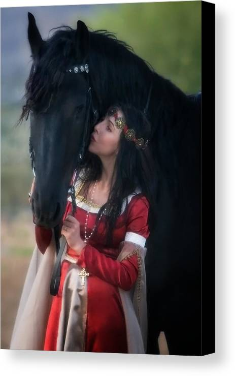 Horse Canvas Print featuring the photograph Kiss by Jean Hildebrant