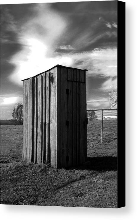 Ansel Adams Canvas Print featuring the photograph Koyl Cemetery Outhouse by Curtis J Neeley Jr