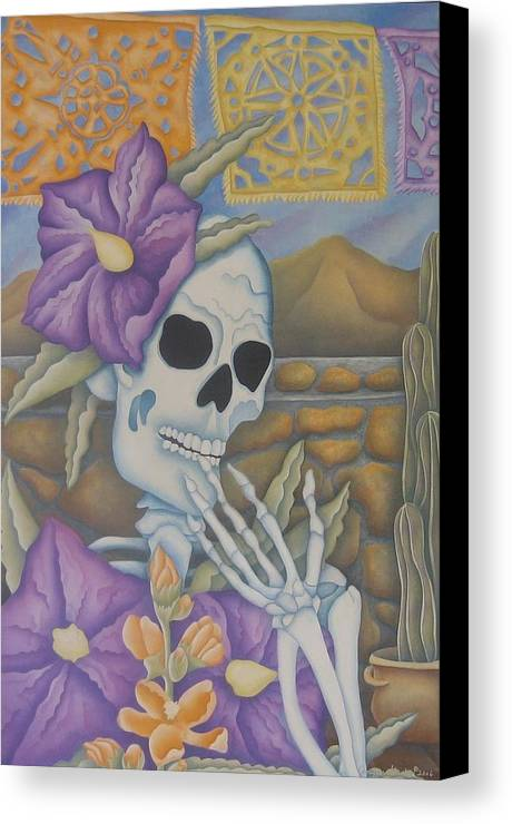 Calavera Canvas Print featuring the painting La Coqueta- The Coquette by Jeniffer Stapher-Thomas