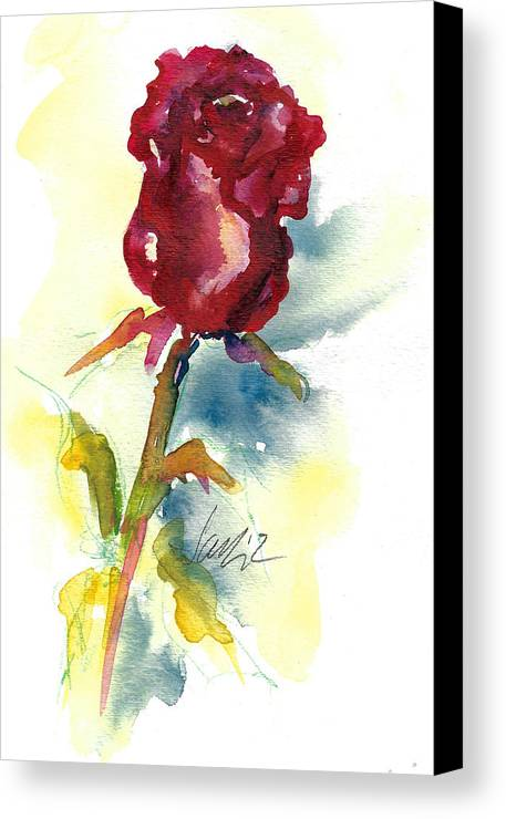 Rose Painting Canvas Print featuring the painting Last Rose Of Summer by Jacki Kellum