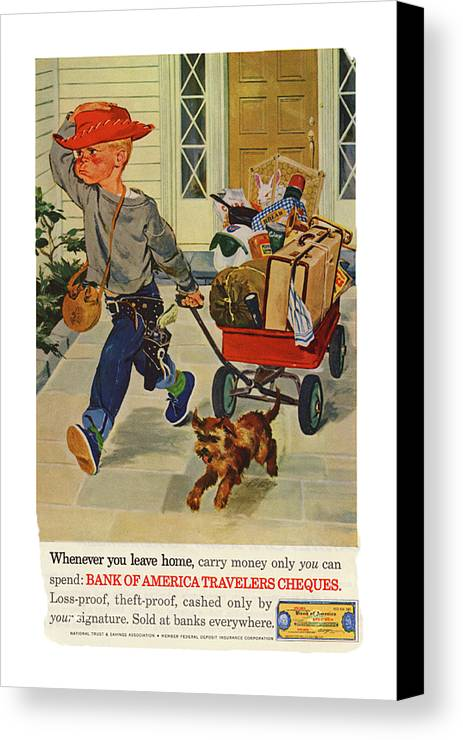 Old Advertisement Canvas Print featuring the photograph Leaving Home by Rianna Stackhouse