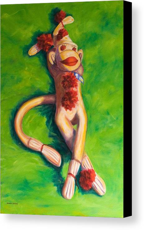 Sock Monkey Canvas Print featuring the painting Life Is Good by Shannon Grissom