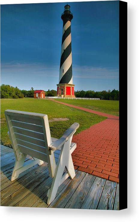 Outer Banks Canvas Print featuring the photograph Lighthouse And Chair by Steven Ainsworth