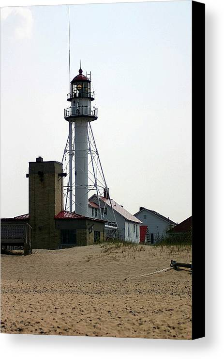 Lighthouses Canvas Print featuring the photograph Lighthouse At White Fish Point Michigan by Vincent Duis
