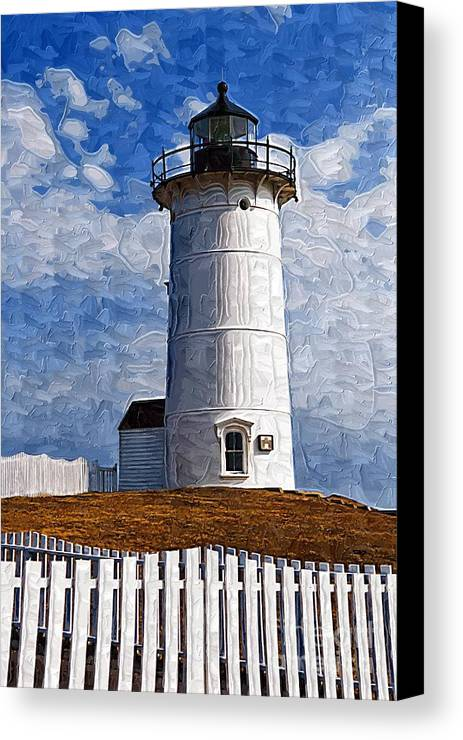 Lighthouse Canvas Print featuring the painting Lighthouse Keepers Dwelling by Deborah Selib-Haig DMacq