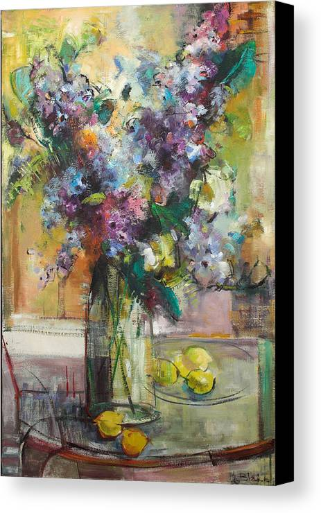 Lilacs Canvas Print featuring the painting Lilacs And Lemons by Blake Originals - Marjorie and Beverly