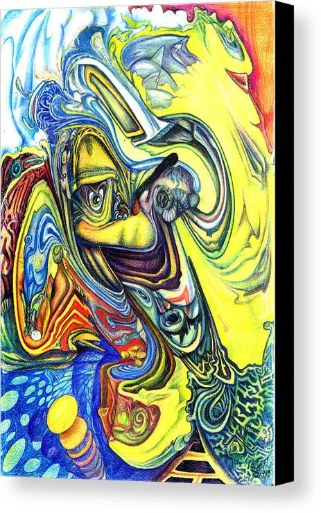 Abstract Canvas Print featuring the mixed media Little Boy Blue by James Hammons