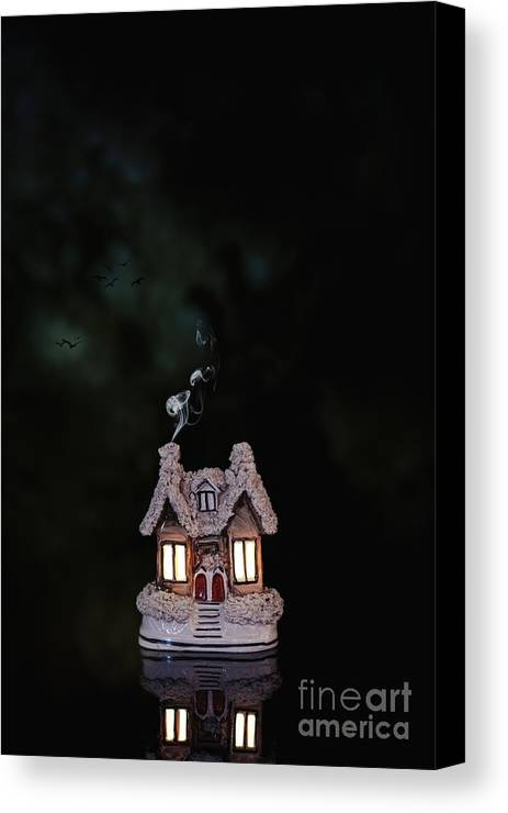 Little Canvas Print featuring the photograph Little Ceramic Cottage by Amanda Elwell