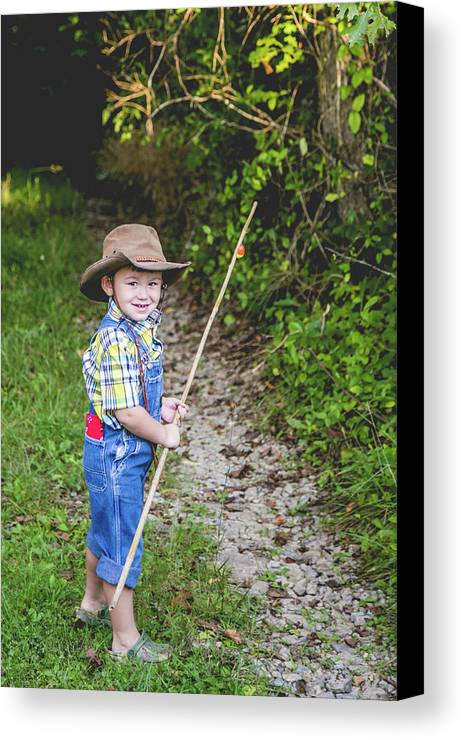 Boy Canvas Print featuring the photograph Little Fisherman by Lisa Lemmons-Powers