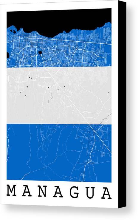 Managua street map managua nicaragua road map art on nicaragua road map canvas print featuring the digital art managua street map managua nicaragua road map publicscrutiny Image collections