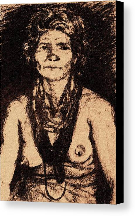 Tribal Lady Portrait Canvas Print featuring the drawing Mankali by Claudio Fiori
