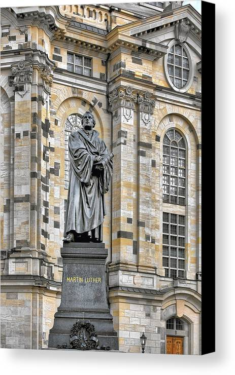 Martin Luther Canvas Print featuring the photograph Martin Luther Monument Dresden by Christine Till