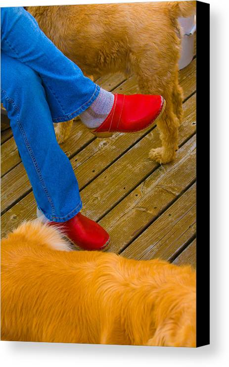 Shoes Canvas Print featuring the digital art Marys Red Shoes by John Toxey