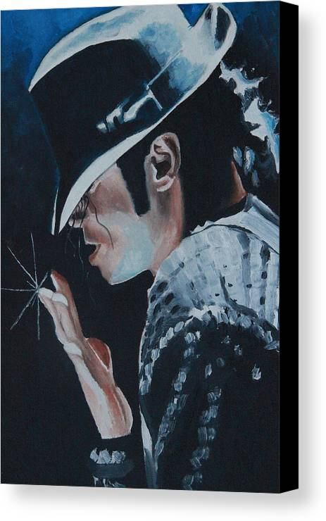 Michael Jackson Portrait Canvas Print featuring the painting Michael Jackson by Mikayla Ziegler