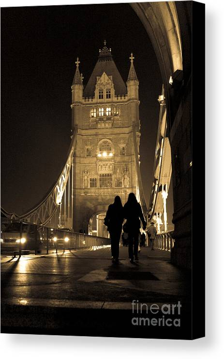 London Canvas Print featuring the photograph Midnight Stroll Over The Bridge by Joshua Francia