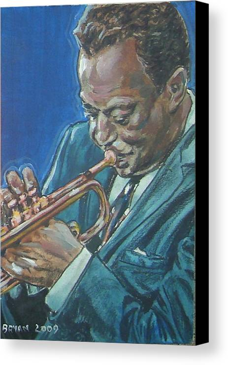 Miles Davis Canvas Print featuring the painting Miles Davis by Bryan Bustard