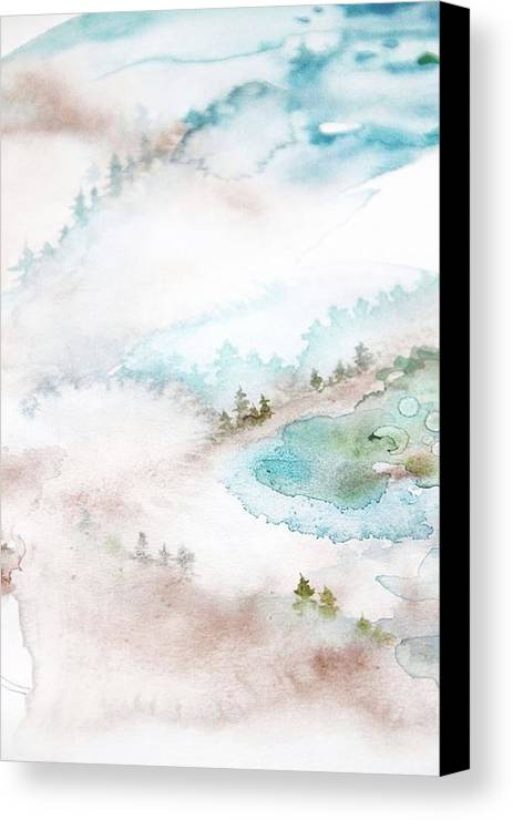 Forrest Canvas Print featuring the painting Mist In Norwegian Wood by Lina Jordan